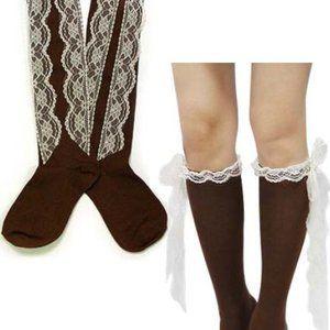 Mocha Lace Knee High Socks